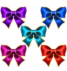 Holiday bows with gold border vector image