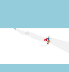 businessman in red cape standing at cliff vector image vector image