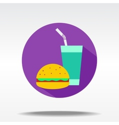 flat icons of food and drinks vector image vector image