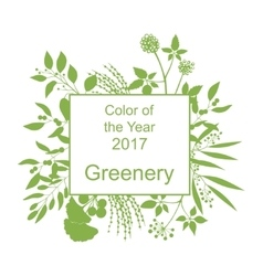 Greenery trendy background with frame vector