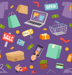 supermarket grocery shopping cartoon vector image