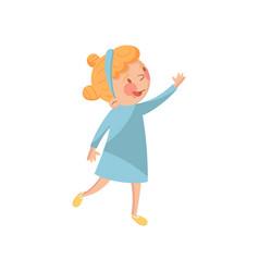 sweet little girl in a blue dress cartoon vector image
