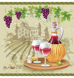Wine glasses bottle and grapes in vineyard vector image vector image