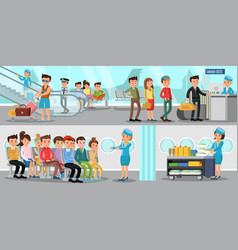 airport horizontal banners vector image vector image