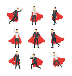 cartoon businessman superhero characters icon set vector image vector image