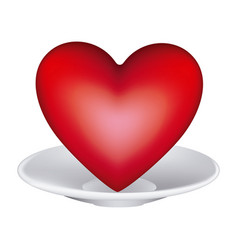 Healthy heart food and heart on dish vector