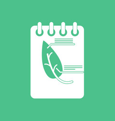 icon notebook and leaf vector image vector image