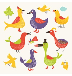 set of a whimsical birds vector image