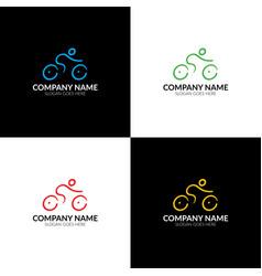 colorful bicycle bike logo logotype icon sign vector image