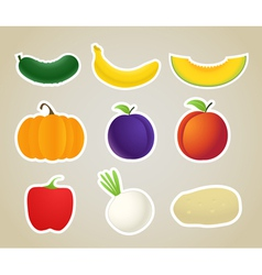 fruit and vegetables silhouettes collection vector image