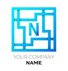 realistic letter n logo in colorful square maze vector image vector image