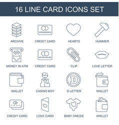 16 card icons vector