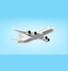 3d white glossy commercial jet airplane in the sky vector