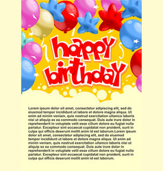 abstract celebrating birthday party poster vector image