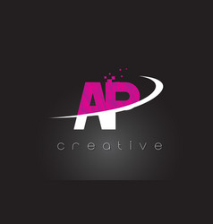 Ap a p creative letters design with white pink vector