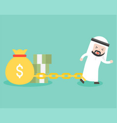 arab businessman chained with money bag and vector image