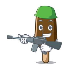 Army chocolate ice cream character cartoon vector