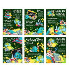 back to school sale offer sketch posters vector image