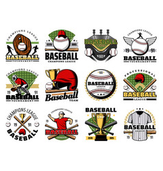baseball sport players balls bats and trophy cup vector image