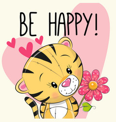 Be happy greeting card tiger with hearts vector