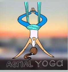 beautiful hand drawn aerial yoga vector image