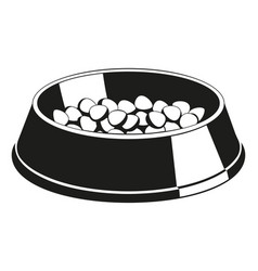 Black and white pet food bowl silhouette vector