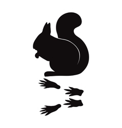 Black silhouette squirrel wild animal zoo vector