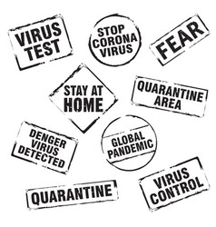 black stamp and text stop corona virus stay vector image