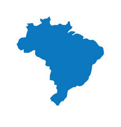 blank blue similar brazil map with capital city br vector image