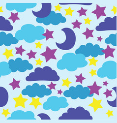 blue sun moon stars and clouds vector image