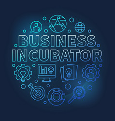 Business incubator round blue outline vector