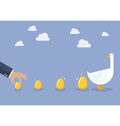 Businessman with goose and golden egg vector image