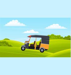 Cartoon golf car on green lawn bushes shrubs vector