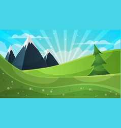 cartoon mountain fir cloud sun vector image