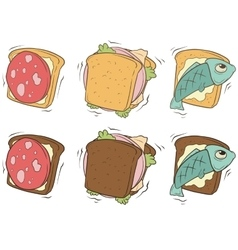 cartoon set sandwiches with different stuffing vector image