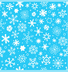 cartoon style seamless pattern snowflakes vector image