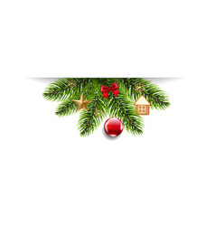 christmas garland and toys white background vector image