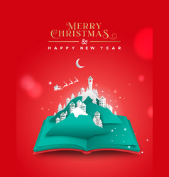 Christmas new year paper cut village book card vector