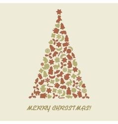 Christmas tree in retro style vector image