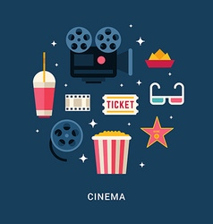 Cinema Concept Set of Flat Style Icons vector image