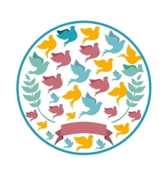 Circular pattern with colorful pigeons vector