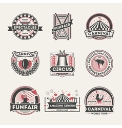 Circus vintage isolated label set vector