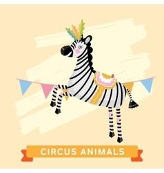 Circus zebra animal series vector