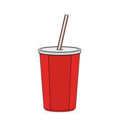Color image cartoon plastic soda disposable cup vector