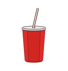 color image cartoon plastic soda disposable cup vector image