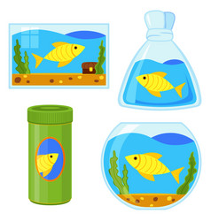 colorful cartoon fish elements set vector image
