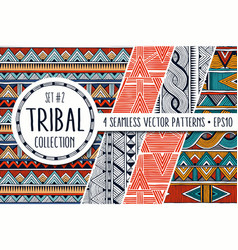 Colorful ethnic patterns collection set of 4 vector