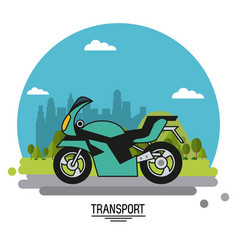 Colorful poster of transport with motorcycle on vector