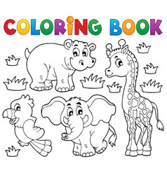 Coloring book african fauna 1 vector