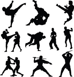 Combat sports silhouettes vector